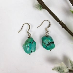Jewelry - Genuine TURQUOISE & Silver Tone Dangly Earrings